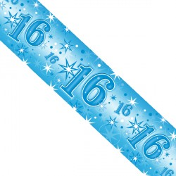 BLUE SPARKLE AGE 16 FOIL BANNER 2.6M (1CT X 12 PACKS)