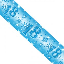 BLUE SPARKLE AGE 18 FOIL BANNER 2.6M (1CT X 12 PACKS)
