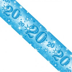 BLUE SPARKLE AGE 20 FOIL BANNER 2.6M (1CT X 12 PACKS)
