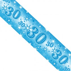 BLUE SPARKLE AGE 30 FOIL BANNER 2.6M (1CT X 12 PACKS)