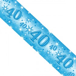 BLUE SPARKLE AGE 40 FOIL BANNER 2.6M (1CT X 12 PACKS)