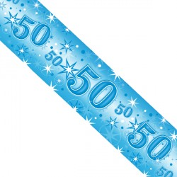 BLUE SPARKLE AGE 50 FOIL BANNER 2.6M (1CT X 12 PACKS)