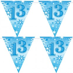 BLUE SPARKLE AGE 13 FLAG BANNER 3.6M (1CT X 12 PACKS)