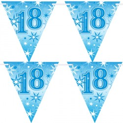 BLUE SPARKLE AGE 18 FLAG BANNER 3.6M (1CT X 12 PACKS)