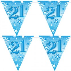 BLUE SPARKLE AGE 21 FLAG BANNER 3.6M (1CT X 12 PACKS)