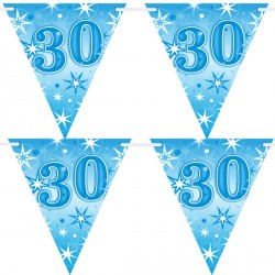 BLUE SPARKLE AGE 30 FLAG BANNER 3.6M (1CT X 12 PACKS)