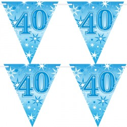 BLUE SPARKLE AGE 40 FLAG BANNER 3.6M (1CT X 12 PACKS)