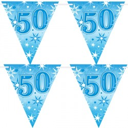 BLUE SPARKLE AGE 50 FLAG BANNER 3.6M (1CT X 12 PACKS)