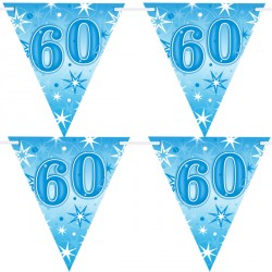 BLUE SPARKLE AGE 60 FLAG BANNER 3.6M (1CT X 12 PACKS)