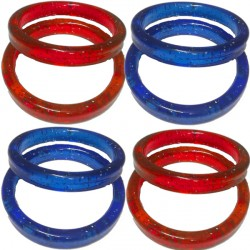 19g RED & BLUE CLEAR MIX PLASTIC BANGLE WEIGHT 100CT