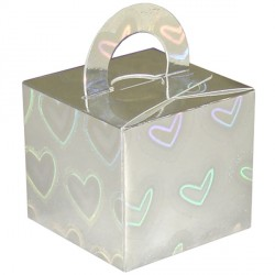 SILVER HOLO HEARTS BOUQUET BOX 10CT