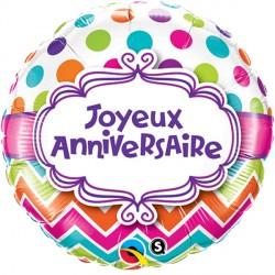 "JOYEUX ANNIVERSAIRE CHEVRON DOTS 18"" PKT (5CT)"