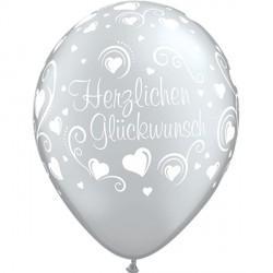"""HERZLICHEN GLUCKWUNSCH HEARTS 11"""" SILVER (25CT)"""
