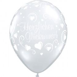 """HERZLICHEN GLUCKWUNSCH HEARTS 11"""" DIAMOND CLEAR (25CT)"""