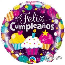 "FELIZ CUMPLEAÑOS DAZZLING CUPCAKES 18"" PKT (5CT)"