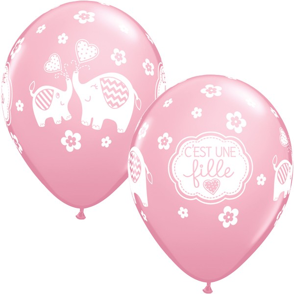 10 x qualatex c 39 est une fille rose elephant ballons ebay. Black Bedroom Furniture Sets. Home Design Ideas