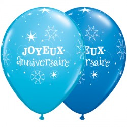 "JOYEUX ANNIVERSAIRE SPARKLE 11"" DARK BLUE & ROBIN'S EGG (50CT)"