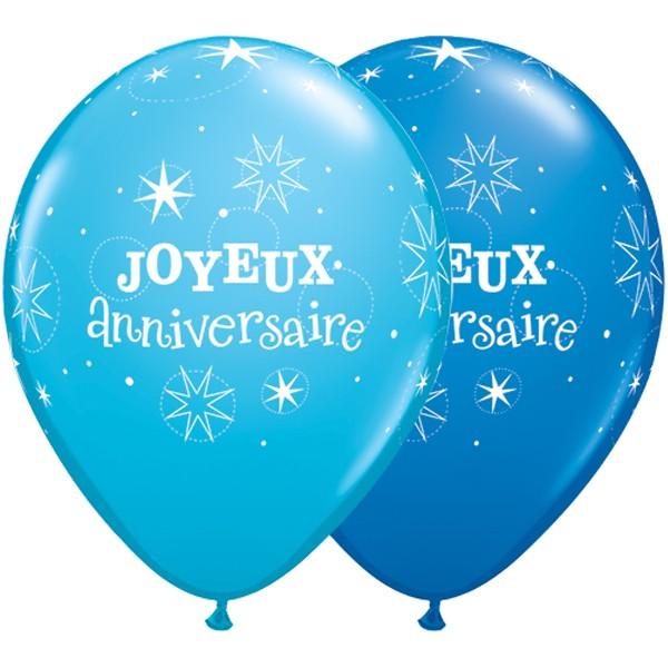 Details About Qualatex Joyeux Anniversaire Sparkle Dark Robins Egg Bleu 11 Ballons X 5