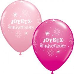 "JOYEUX ANNIVERSAIRE SPARKLE 11"" PINK & WILD BERRY (50CT)"