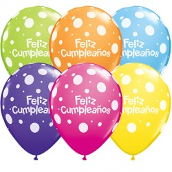 "FELIZ CUMPLEAÑOS BIG POLKA DOTS 11"" TROPICAL ASSORTMENT (50CT)"