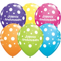 "JOYEUX ANNIVERSAIRE POLKA DOTS 11"" TROPICAL ASSORTMENT (50CT)"