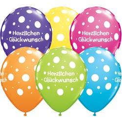 """HERZLICHEN GLUCHWUNSCH SPARKLE-A-ROUND 11"""" TROPICAL ASSORTMENT (25CT)"""