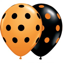 "BIG POLKA DOTS 11"" ORANGE & ONYX BLACK (25CT)"