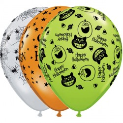 "HALLOWEEN ASSORTMENT 11"" MANDARIN, DIAMOND CLEAR & LIME (25CT)"
