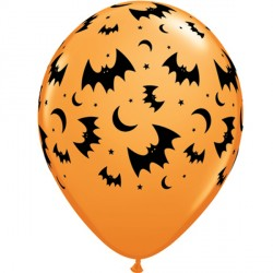"FLYING BATS & MOONS 11"" ORANGE (6X6CT)"