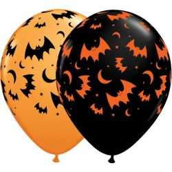 "FLYING BATS & MOONS 11"" ORANGE & ONYX BLACK (25CT)"