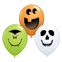 "HALLOWEEN FACE ASSORTMENT 5"" ORANGE, WHITE & LIME (100CT)"
