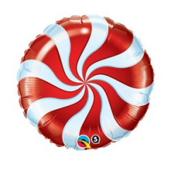 """CANDY SWIRL RED 9"""" INFLATED WITH STICK & CUP"""