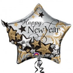 HAPPY NEW YEAR GARLAND MULTI-BALLOON SHAPE P45 PKT