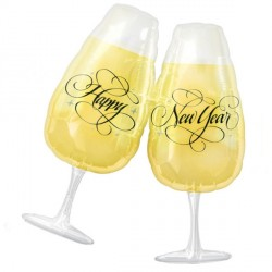 "TOASTING GLASSES NEW YEAR SHAPE P35 PKT (27"" x 30"")"