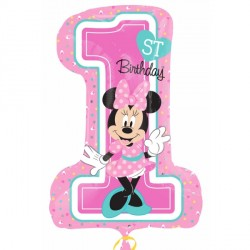 MINNIE 1ST BIRTHDAY SHAPE P38 PKT