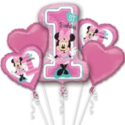 MINNIE MOUSE 1ST BIRTHDAY 5 BALLOON BOUQUET P75 PKT (3CT)