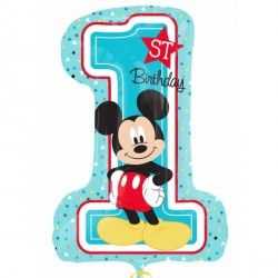 "MICKEY MOUSE 1ST BIRTHDAY SHAPE P38 PKT (19"" x 28"")"
