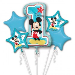 MICKEY MOUSE 1ST BIRTHDAY 5 BALLOON BOUQUET P75 PKT (3CT)