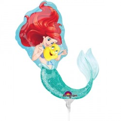 DISNEY PRINCESS ARIEL MINI SHAPE A30 INFLATED WITH CUP & STICK