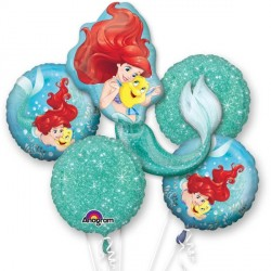 DISNEY PRINCESS ARIEL 5 BALLOON BOUQUET P75 PKT (3CT)