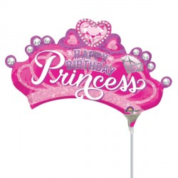 PRINCESS CROWN & GEM BIRTHDAY MINI SHAPE A30 INFLATED WITH CUP & STICK
