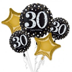 BLACK & GOLD 30 SPARKLING BIRTHDAY 5 BALLOON BOUQUET P75 PKT (3CT)