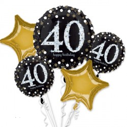 BLACK & GOLD 40 SPARKLING BIRTHDAY 5 BALLOON BOUQUET P75 PKT (3CT)