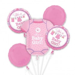 SHOWER WITH LOVE BABY GIRL 5 BALLOON BOUQUET P75 PKT (3CT)