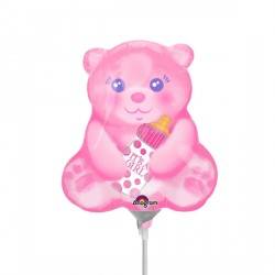 BABY GIRL BEAR WITH BOTTLE MINI SHAPE A30 FLAT