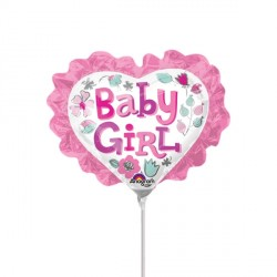 BABY GIRL HEART WITH RUFFLE MINI SHAPE A30 FLAT