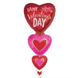 VERTICAL HEARTS VALENTINE'S MULTI-BALLOON P70 PKT