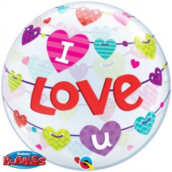 "I LOVE U BANNERS HEARTS 22"" SINGLE BUBBLE"