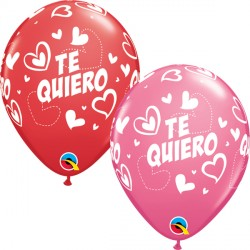 "TE QUIERO MIX & MATCH HEARTS 11"" RED & ROSE (50CT)"