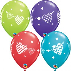 "BANNER HEARTS 11"" RED, VIOLET, TEAL & LIME (25CT) YGX"
